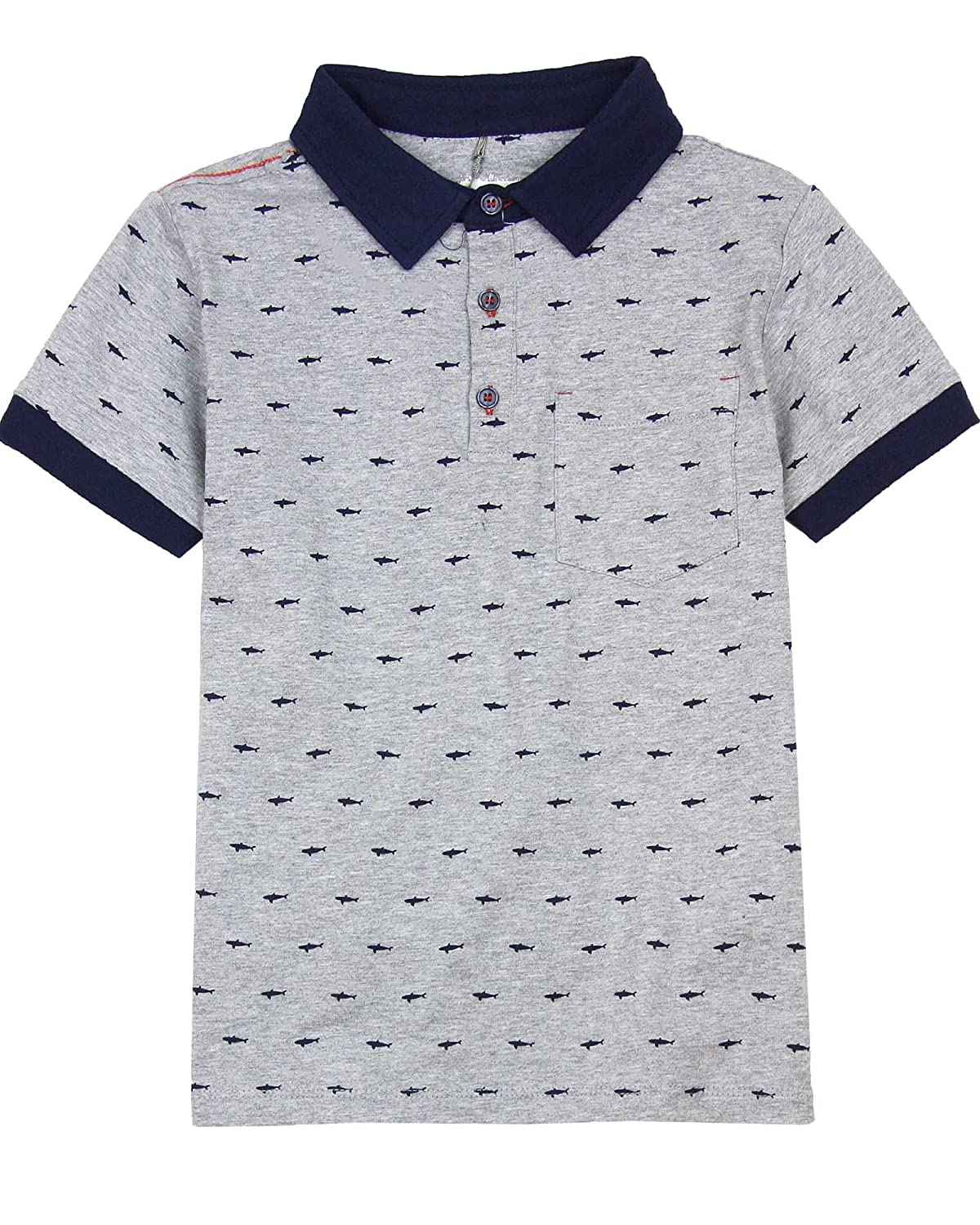 Deux par Deux Boys' Polo in Gray Pirates in The Zone Sizes 5-12