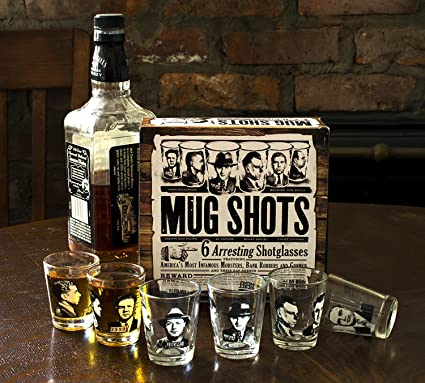 6 Shot Glasses Shooters With Wooden Carrier Drinking Game Secret Santa 93//2056