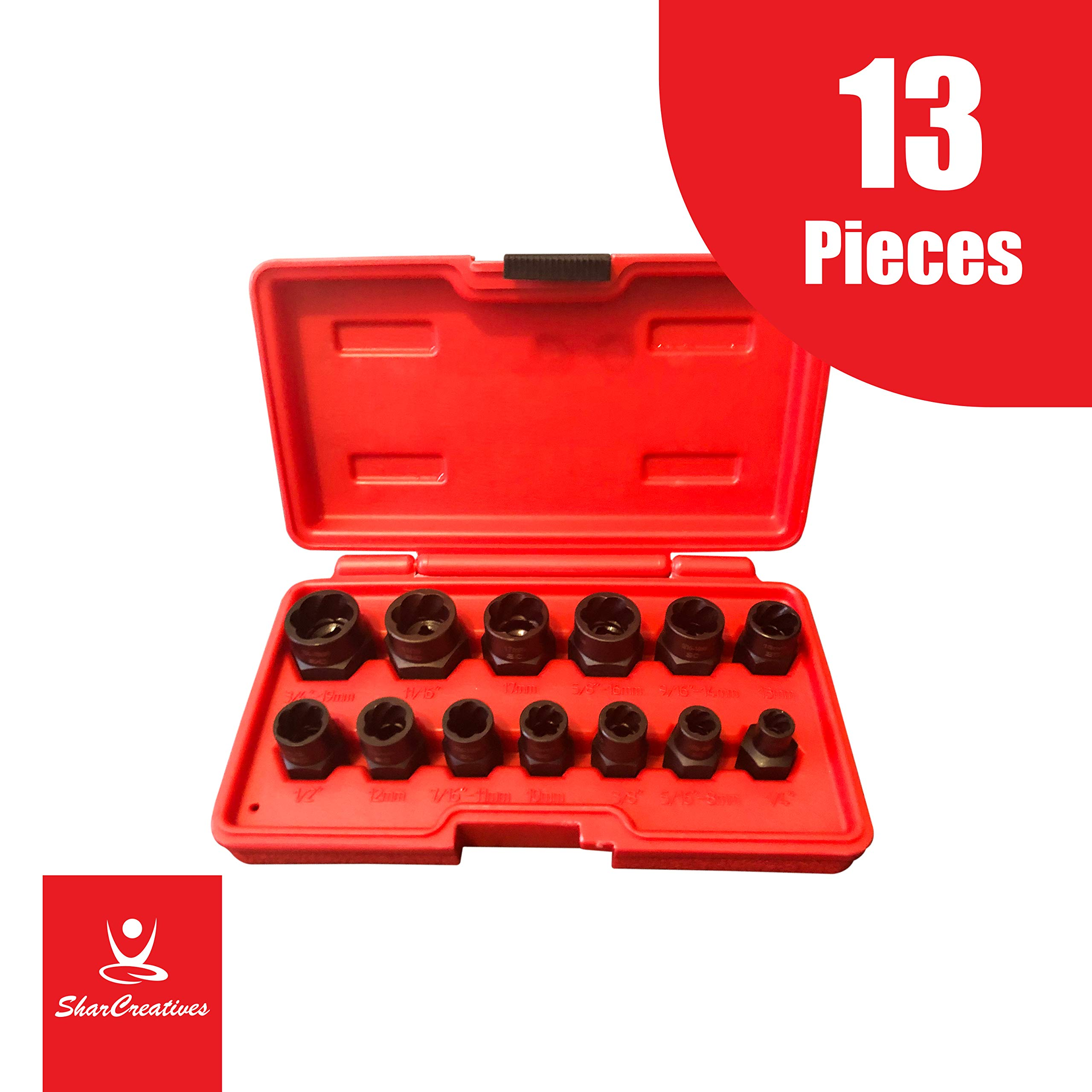Grip Nut Extractor Socket Sets for Removal of Locking Wheel Nuts 17mm 19mm 21mm and 22mm HSEAMALL 5PCS Twist Socket Set,1//2 Inch Drive Damaged Bolt Remover