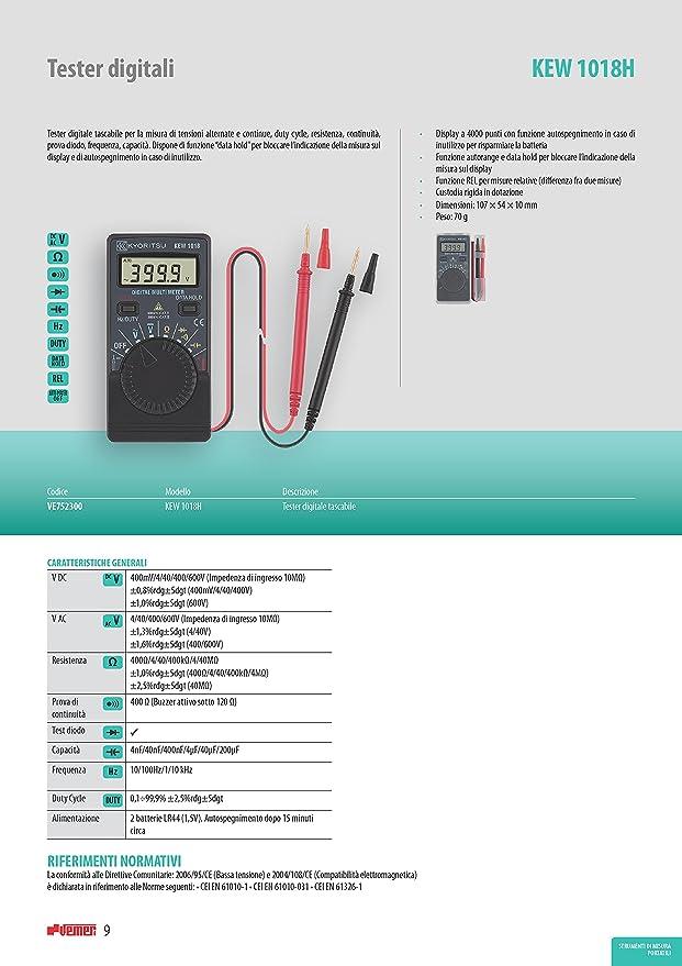 Kyoritsu Kew 1018h mult/ímetro digital bolsillo para tama/ños de tensioni AC//DC Gris continuidad Frecuencia Capacidad prueba diodo resistencia