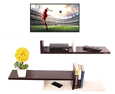 351cd66a450 Anikaa Cavin Wooden Set Top Box Stand Wall Mount Setup Box Holder Wall  Shelf (White Wenge Set of 2)  Amazon.in  Home   Kitchen