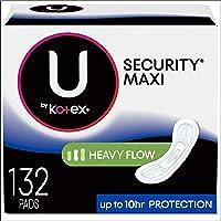 U by Kotex Security Maxi Pads, Long Super, Fragrance-Free, 3 paquetes de 44 almohadillas para orejas