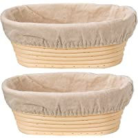 DOYOLLA Set of 2 10inch Oval Shaped Banneton Brotform Bread Dough Proofing Rising Rattan Basket & Liner Combo
