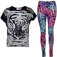 A2Z 4 Kids New Girls Tiger Face Print Party Fashion Top T Shirt & Leopard Legging Set 7-13