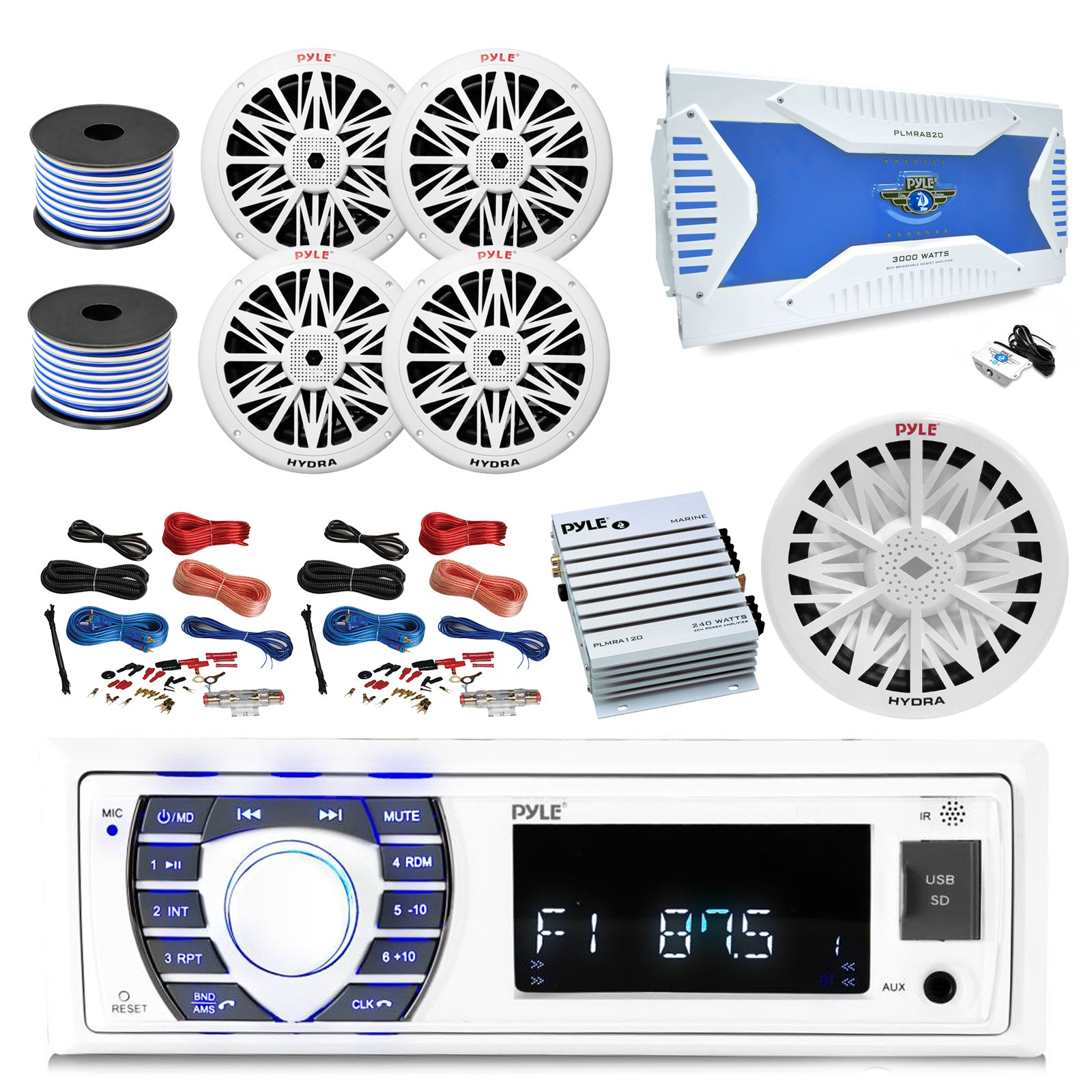 36-42' Boat: Pyle Bluetooth Marine Stereo Receiver, 8x 8'' White Boat Speakers, Pyle 8-Channel Amp, 10'' Yacht Sub, Pyle 2-Channel Waterproof Amp, Amp Install Kit, 18 Gauge 50 FT Speaker Wire, Antenna