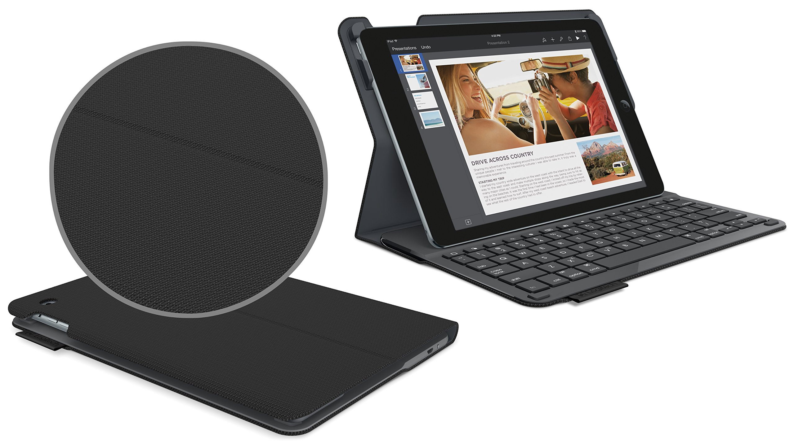 Logitech 920-006576 Protective Case with Integrated Keyboard for iPad Air 2 (Woven Black) by Logitech (Image #2)