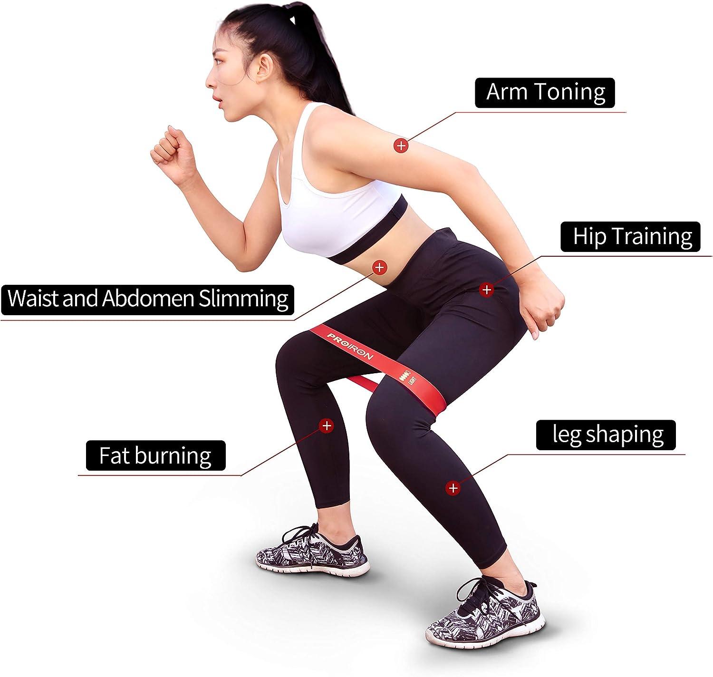 PROIRON Bandas Elasticas Fitness [Set de 5] - Cintas elasticas musculacion para Entrenar Piernas Glúteos Yoga Pilates Crossfit Fuerza - Bandas de ...