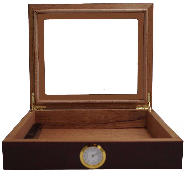 with Hygrometer and Humidifier and GERMANUS Manual Dark Brown GERMANUS Cigar Humidor for approx 30 Cigars