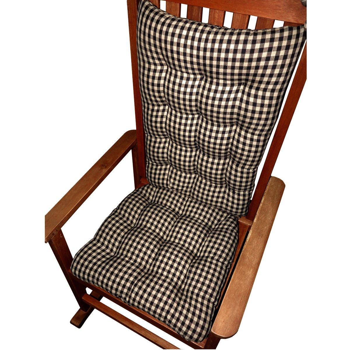 Amazon.com: Rocking Chair Cushions - Checkers Black & White 1/4 ...