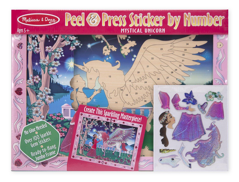 Melissa Doug Peel and Press Sticker by Number Kit Mystical Unicorn 100 Stickers Jumbo Frame