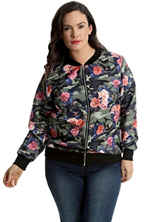 a6267cfc48c Womens Plus Size Bomber Jacket Ladies Camouflage Floral Print Coat Long  Sleeve Ribbed