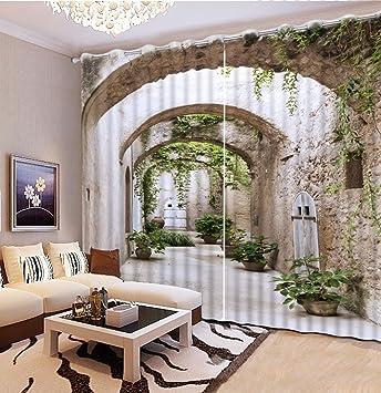 Sproud Moderne Dekoration Wohnzimmer Vorhänge 3D Korridor Landschaft  Vorhang Küche Mode Schöne Verdunkelungsvorhänge 240Cmx240Cm