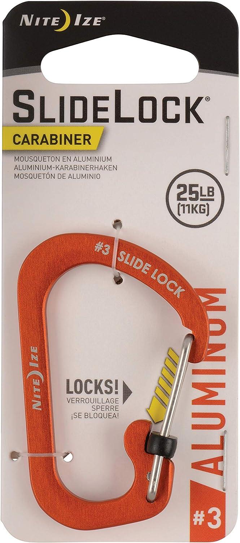 Nite Ize Size-3 S-Biner SlideLock Carabiner, Locking Carabiner Key Chain, Aluminum, Orange