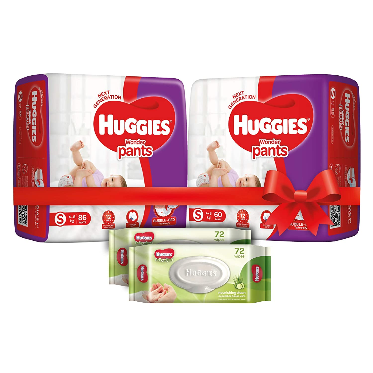 Huggies Wonder Pants Comfort Pack Small Size Diapers (146 Count) and Huggies Baby Wipes - Cucumber & Aloe Pack of 2 (144 Wipes)
