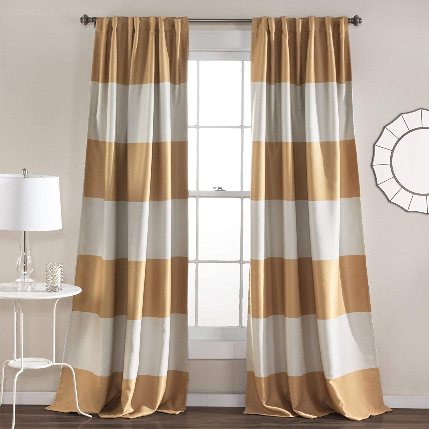 """Lush Decor Montego Striped Window Curtains Panel Set for Living Bedroom Dining Room Pair 84/"""" x 52/"""" Black Triangle Home Fashions C42199P15-000"""