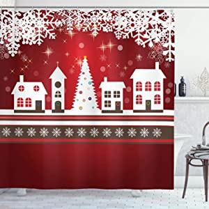 """Ambesonne Christmas Shower Curtain, Cloth Fabric Bathroom Decor Set with Hooks, House with Trees, 70"""" Long"""
