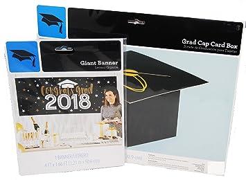 Amazon Com 2018 Black And White Graduation Banner And Grad Cap Card