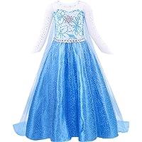 AmzBarley Elsa Dress Girls Costume Princess Cosplay Party Cape Kids Clothes