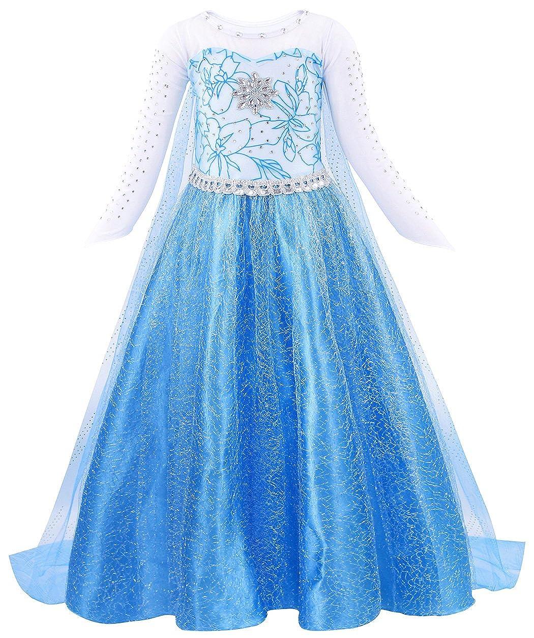 AmzBarley Elsa Vestito Operato Bambina Regina delle Nevi Costume Ragazze Principessa Cosplay Festa Abito Vestiti Lungo Compleanno Carnevale Halloween