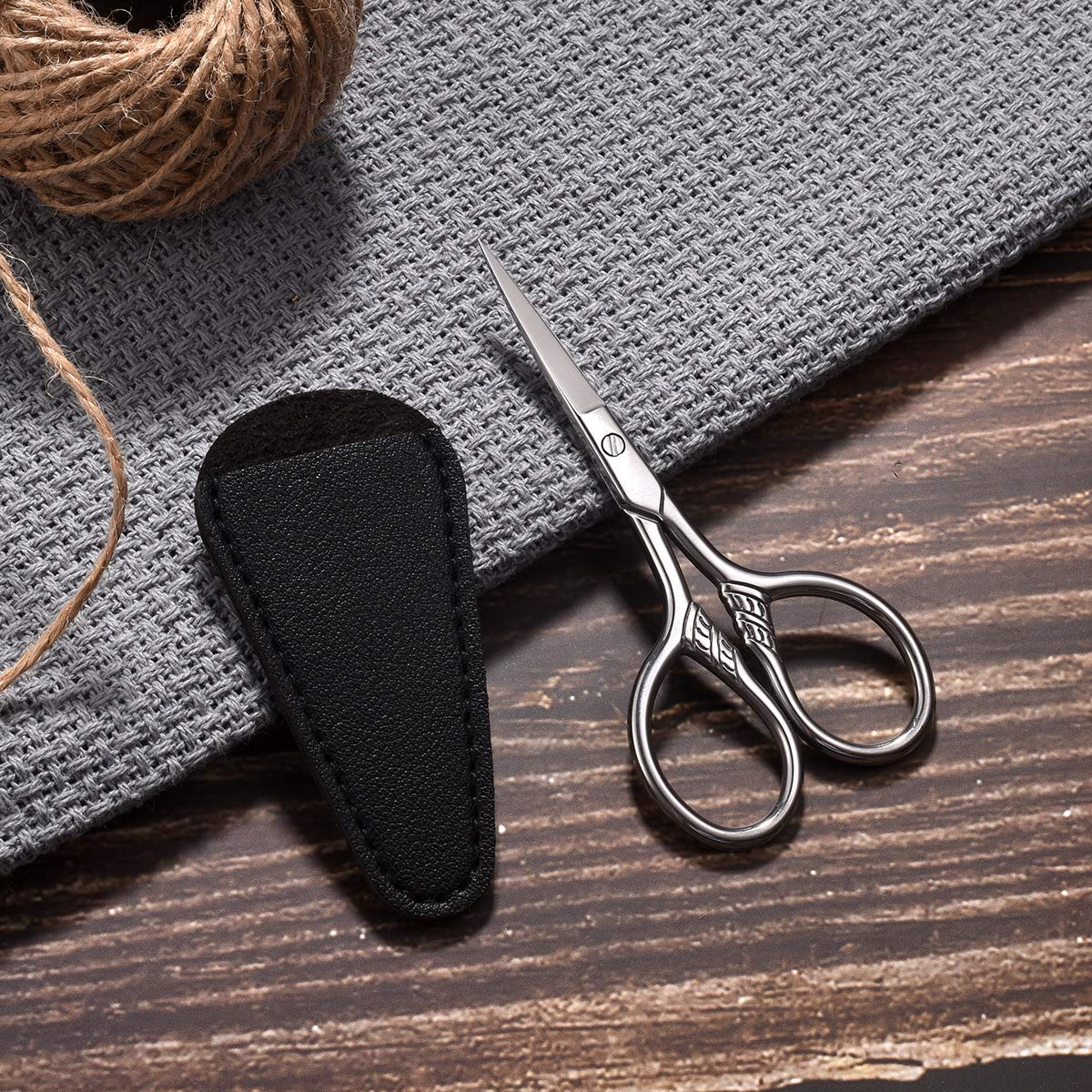 HITOPTY Small Precision Scissors, 3.5inch Stainless Steel Multi-Purpose Vintage Beauty Grooming Kit for Facial Hair, Eyebrow, Eyelash, Beard, Moustache with PU Sheath : Beauty