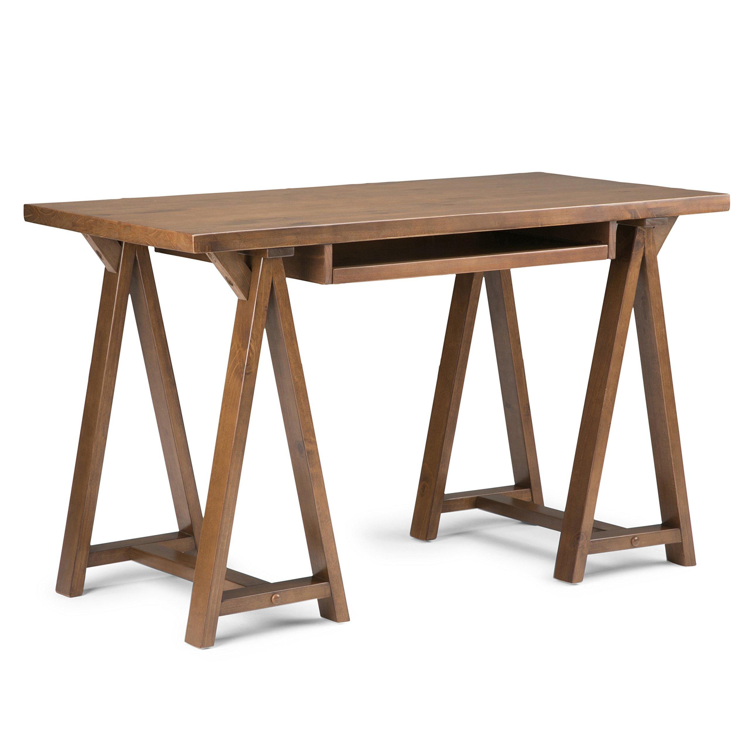 Simpli Home Sawhorse Solid Wood Small Desk, Medium Saddle Brown