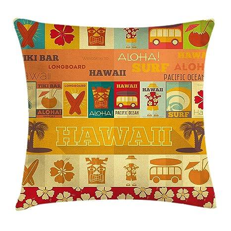 KAKICSA Tiki Bar Decor Throw Pillow Cover Funda de cojín ...