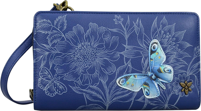 Anuschka Women/'s Genuine Leather Organizer Wallet Hand Painted Original Artwork