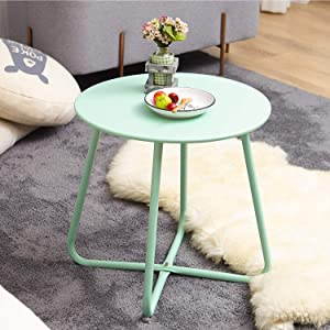 Grand patio Round Metal Side/End Table, Steel Patio Coffee Table for Bistro, Porch, Weather Resistant Outside Table Small (Mint Green)