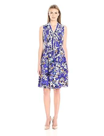 Lark & Ro Women's Sleeveless Bow Dress, Blue Floral Multi, Extra Small