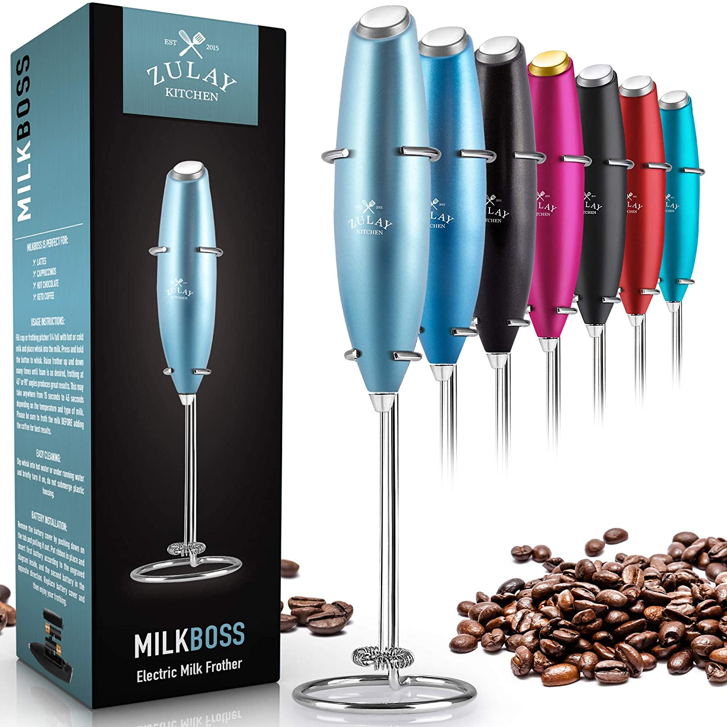 Zulay Original Milk Frother Handheld Foam Maker for Lattes - Whisk Drink Mixer for Bulletproof® Coffee, Mini Foamer for Cappuccino, Frappe, Matcha, Hot Chocolate by Milk Boss - Metallic Ice Blue