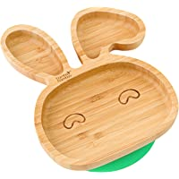 Baby Toddler Bunny Suction Plate, Stay Put Feeding Plate, Natural Bamboo (Green)