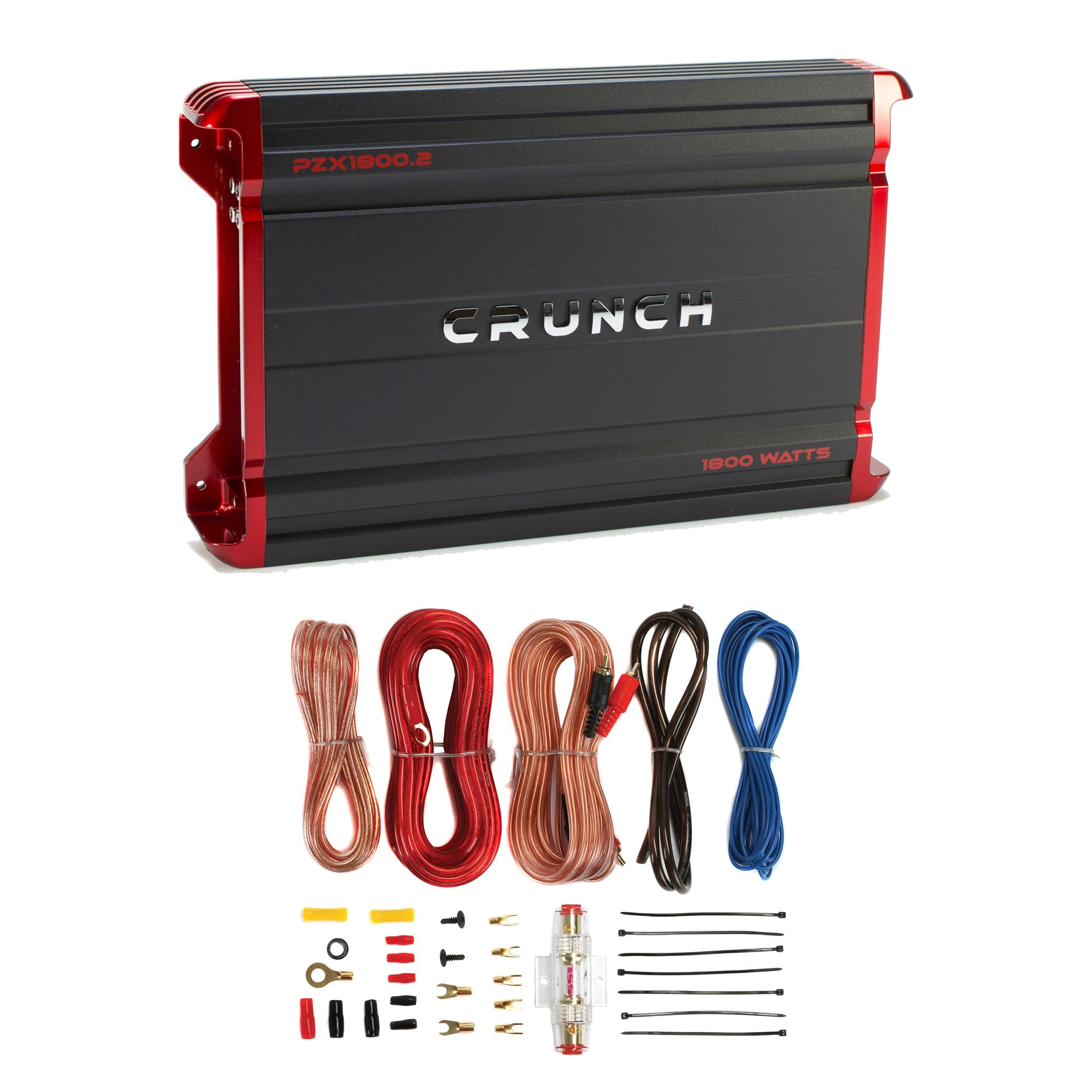 Crunch 1800W 2-Channel Powerzone Car Amplifier + 8-Gauge Wiring Kit