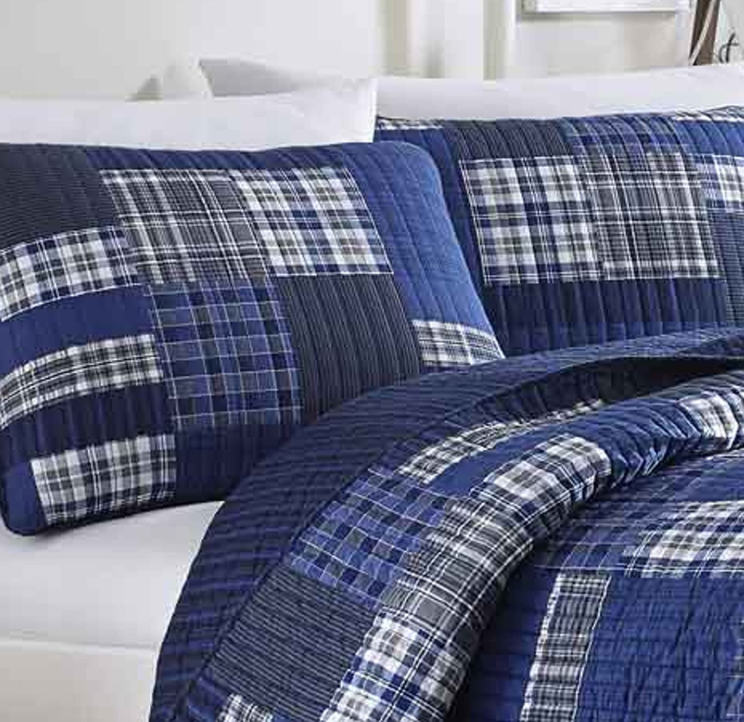 Amazon Com Eddie Bauer Home Eastmont Collection 100 Cotton Reversible Light Weight Quilt Bedspread With Matching Sham 2 Piece Bedding Set Pre Washed For Extra Comforttwinblue Home Kitchen