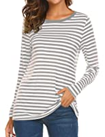 OURS Women's Round Neck Long Sleeve Basic T-shirt Striped Shirts Tunic Top Blouse