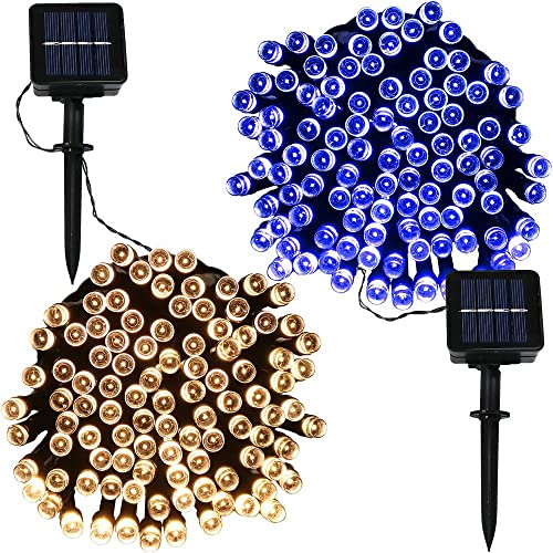 Sunnydaze 34-Foot Outdoor Hanging Solar String Lights LED, 100-Count Fairy Patio Lights, Set of 2, Blue and Warm White