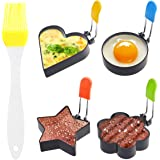 Kare & Kind 4x Non-Stick Stainless Steel Egg Rings - Different Shapes with Anti-Scald Handles - Great for Frying and Shaping
