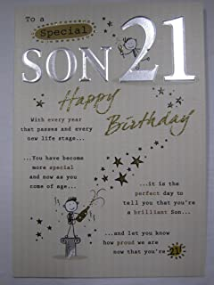 STUNNING TOP RANGE 5 VERSE TO A SPECIAL SON 21 21ST BIRTHDAY GREETING CARD