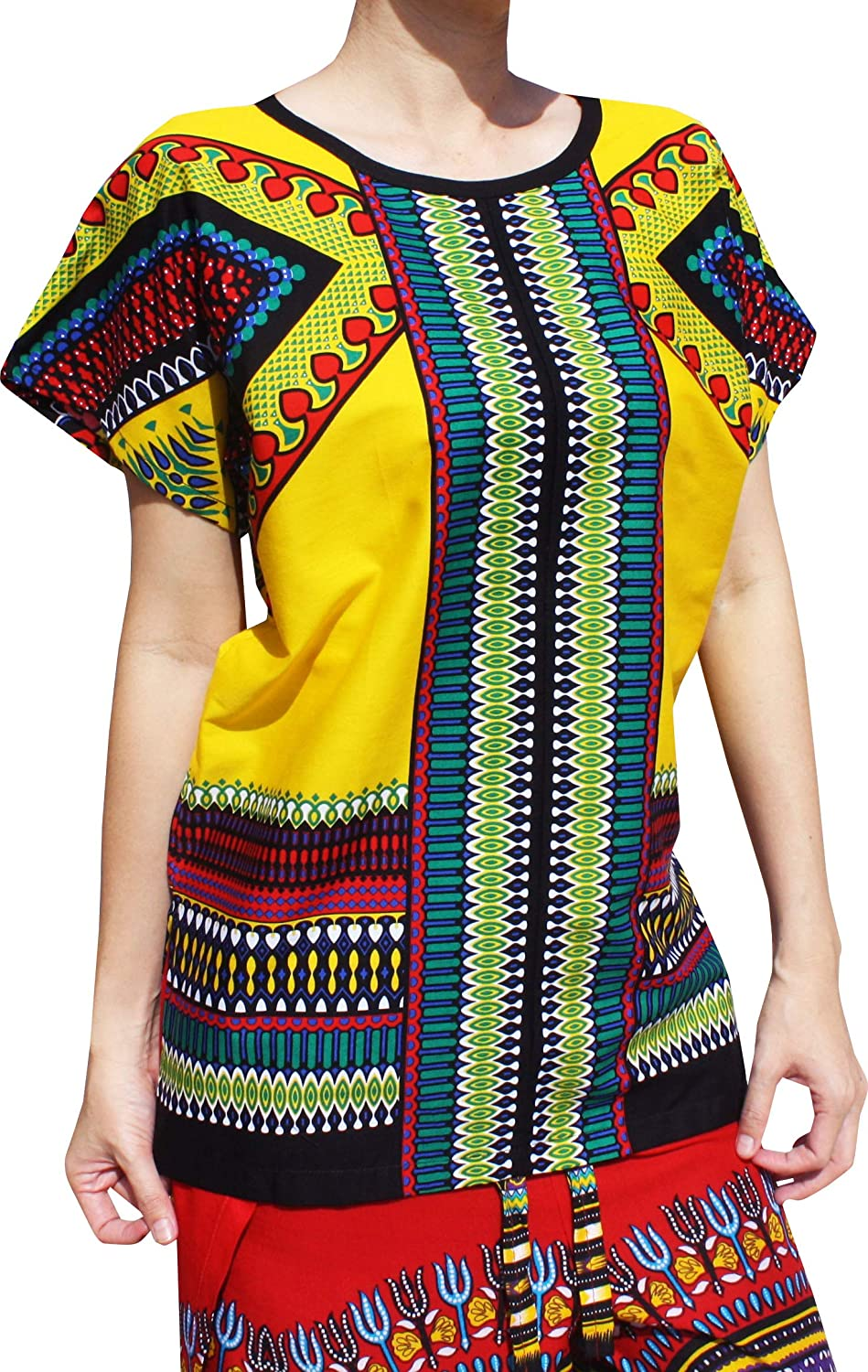 Safety Yellow RaanPahMuang Bright Arrowhead African Dashiki Traditional Cut Front Collar Shirt