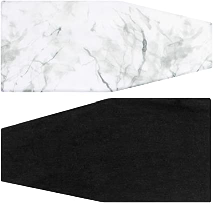 Maven Thread Mens Headband Yoga Running Exercise Sports Workout Athletic Gym Wide Sweat Wicking Stretchy No Slip 2 Pack Set White Marble Black Solid White Marble Black Solid