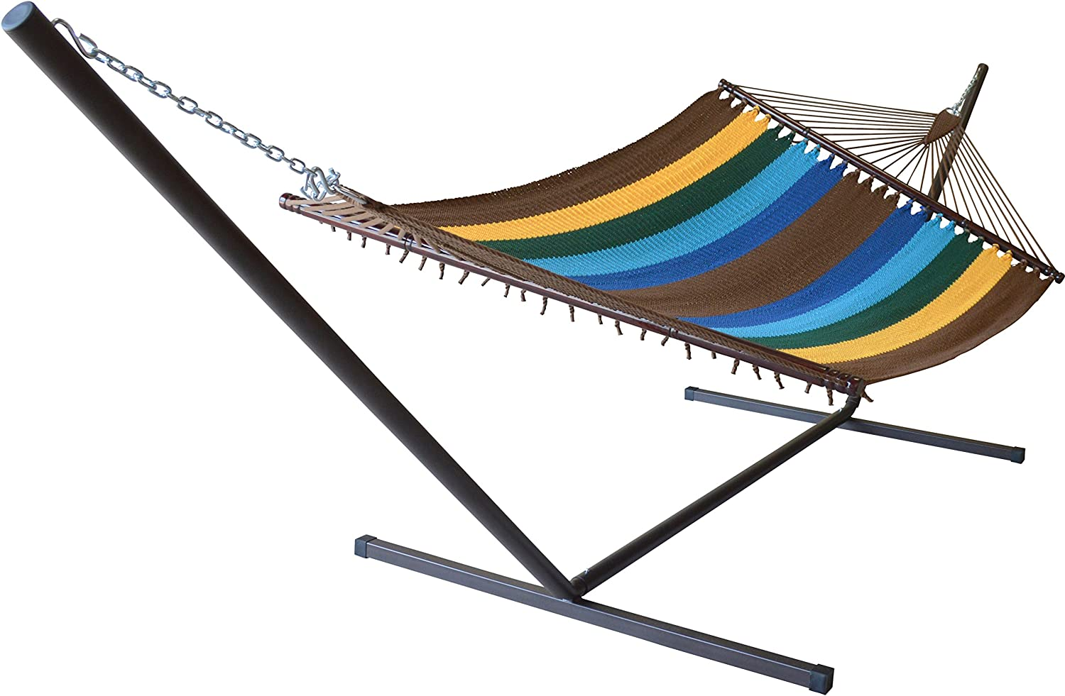 Caribbean Hammocks Jumbo Hammock and 15 ft Tribeam Stand - Multi Color Yellow