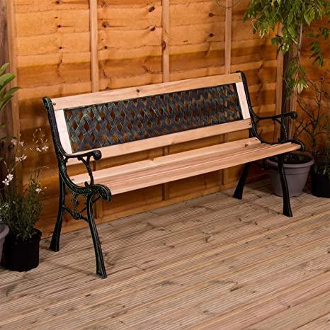 Home Discount Garden Bench Cross Style Design 3 Seater Outdoor