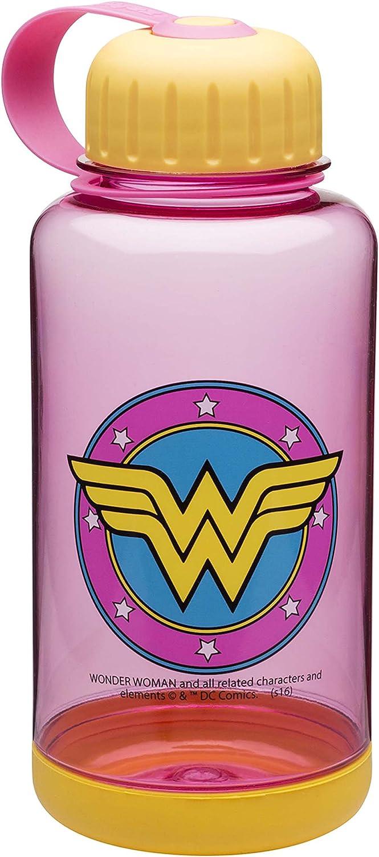 Zak Designs Reusable Wonder Woman Graphics and Grip Band Water Bottle, 24 oz, Multicolor
