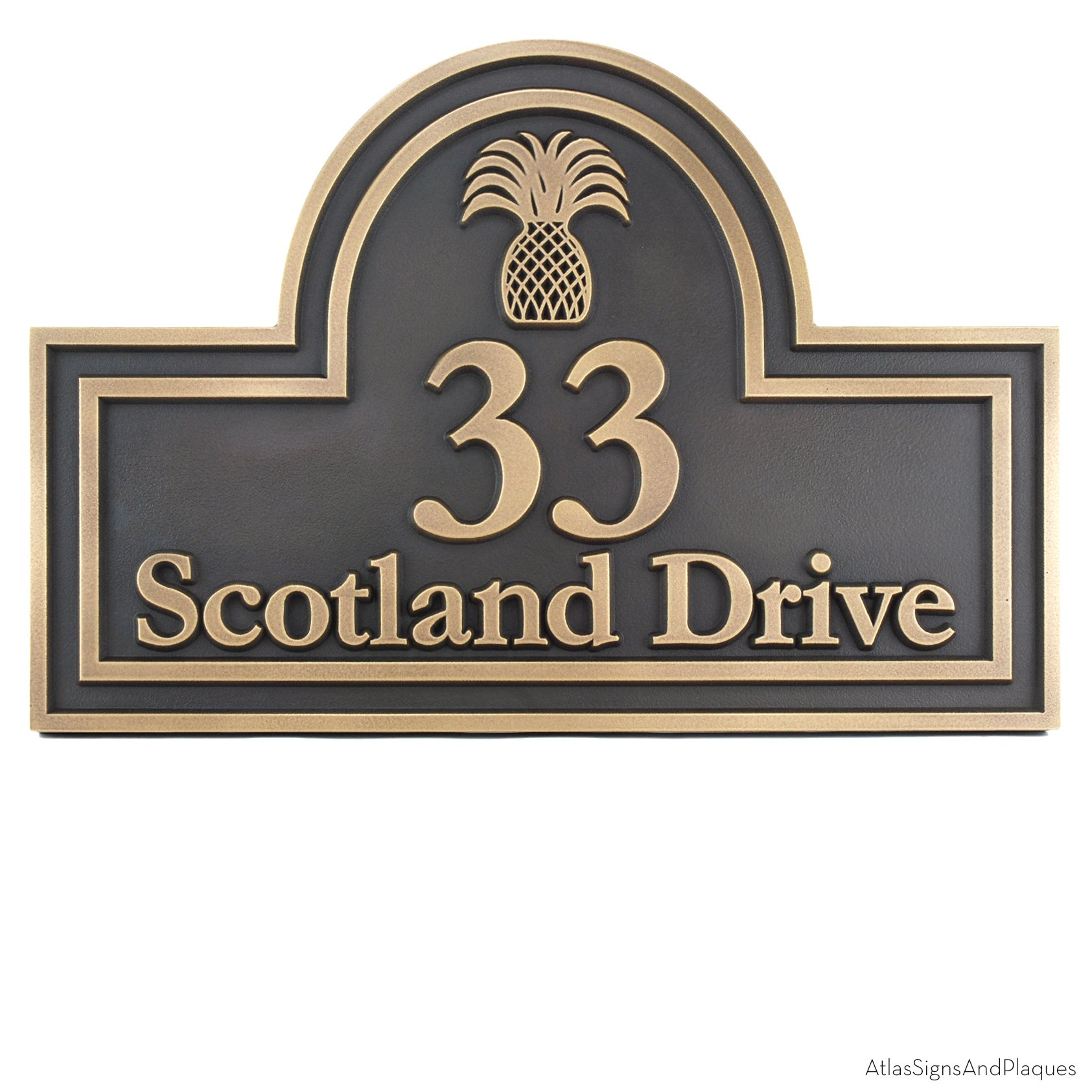 Arched Address Plaque with Welcomed Pineapple - 15x10 - Raised Brass Patina Coated Sign