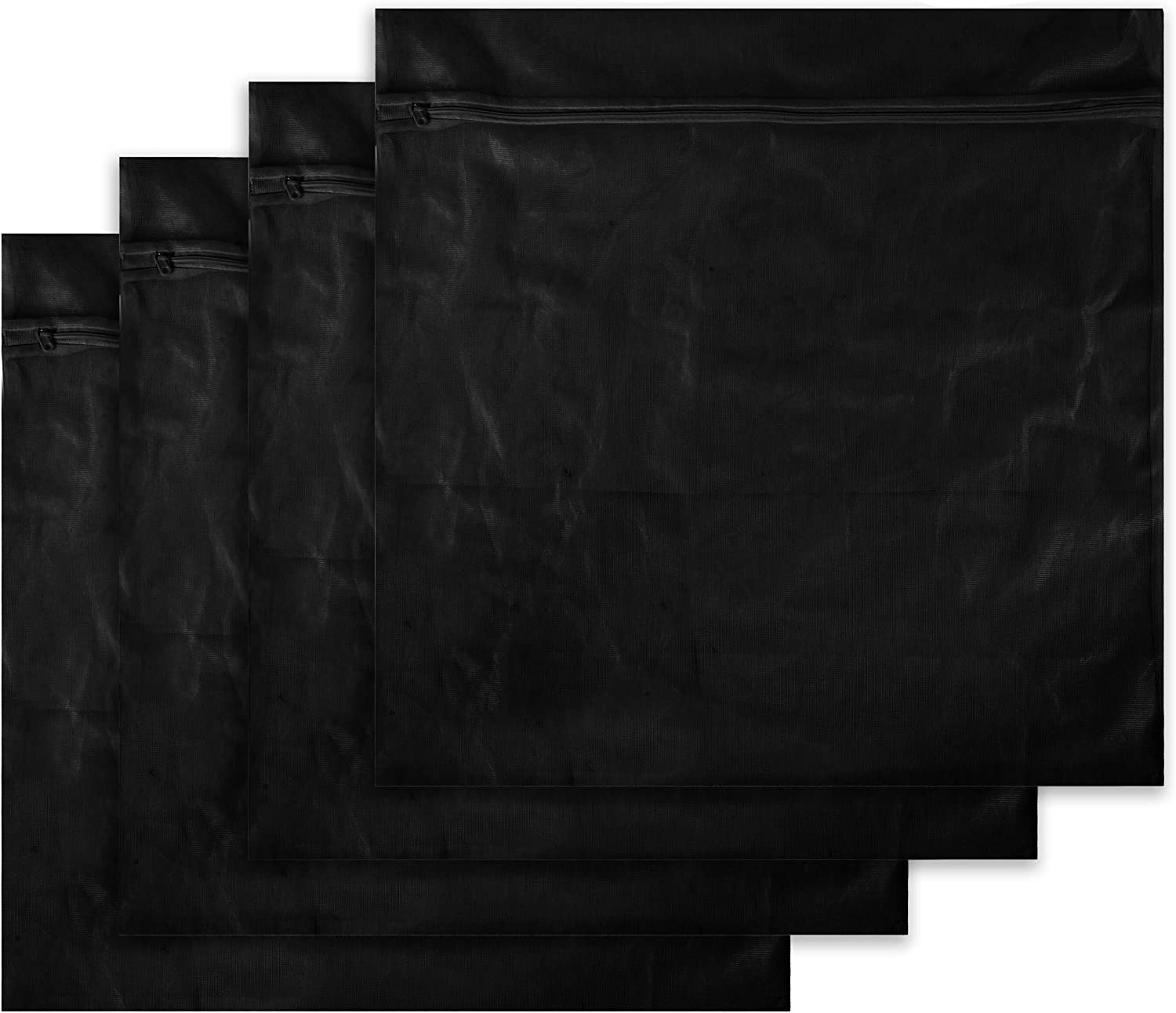 Supply Essentials Laundry Bags, Set of 4 XL (Extra Large) Mesh with Zipper - Delicates Laundry Bag, Intimates, Lingerie, Bras, Dirty Laundry, Large Mesh Laundry Bags and Accessories Wash Bag, (Black)