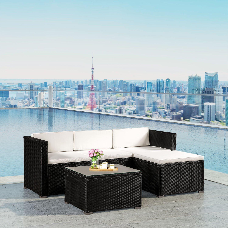 Amazon.de: Polyrattan Lounge Punta Cana M für 3-4 Personen mit Tisch ...