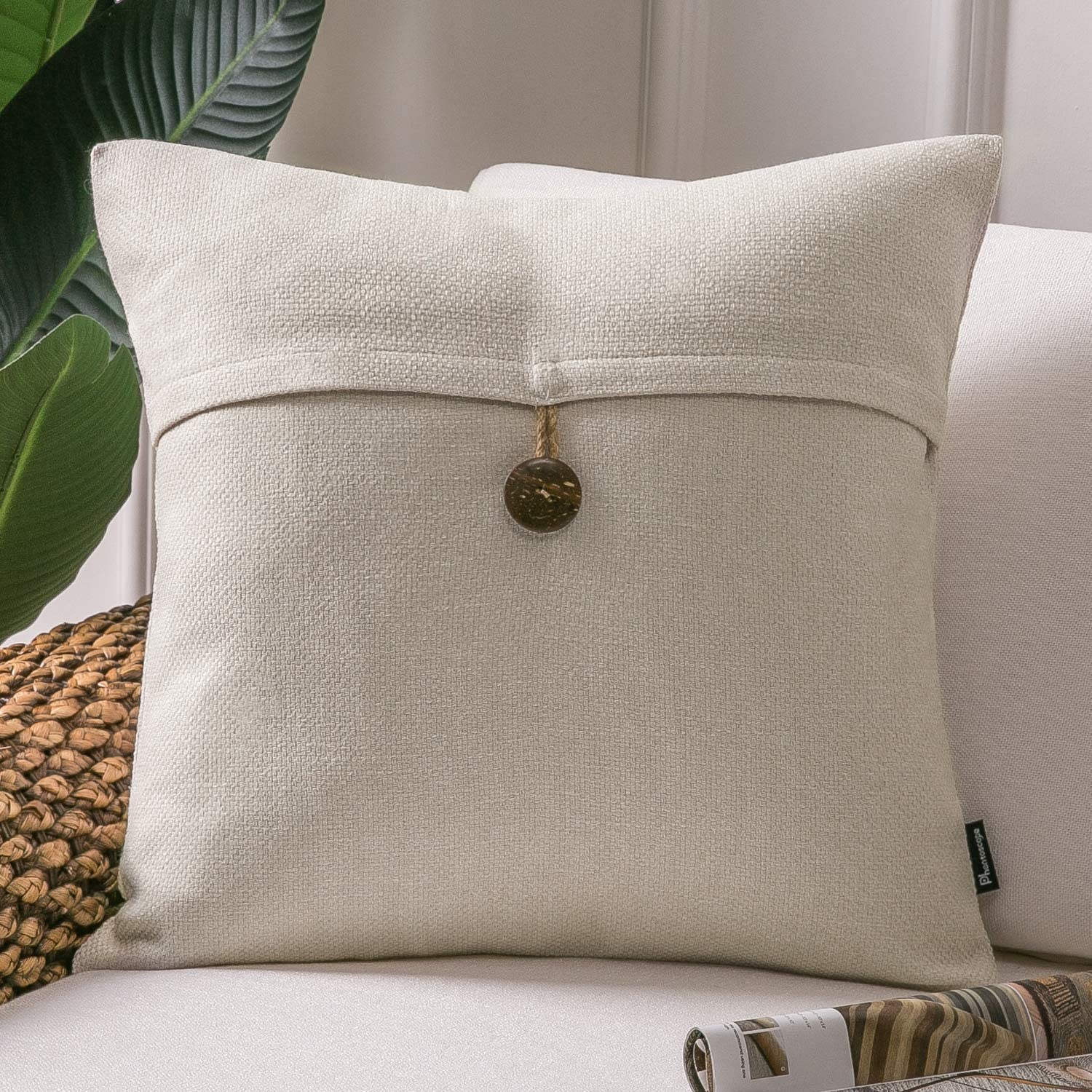 Phantoscope Farmhouse Throw Pillow Case Button Vintage Linen Decorative Soft Cushion Cover for Couch Bed Living Room and Office Chair, Off-White, 20 x 20 inches, 50 x 50 cm