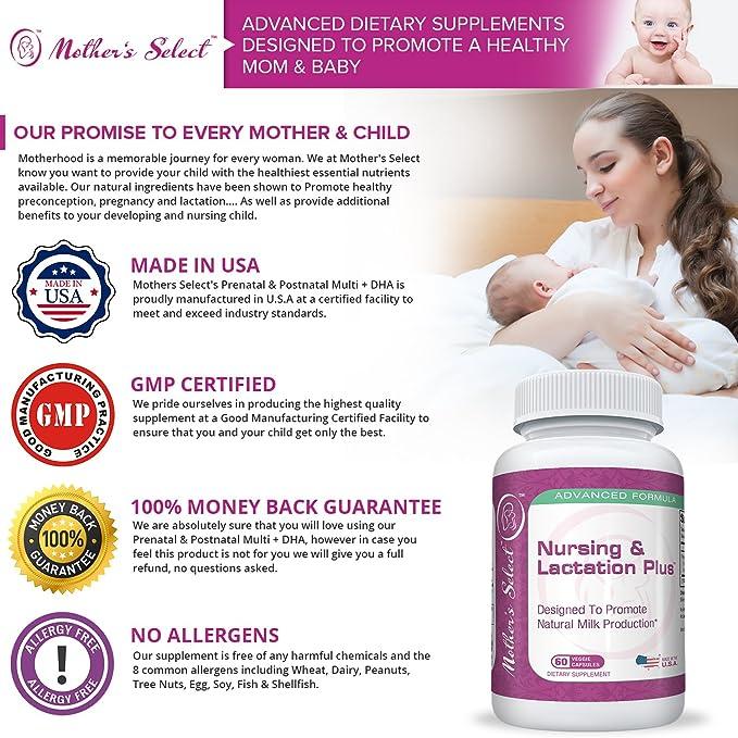 Mothers Select - Suplemento de apoyo y ayuda a la lactancia materna - Plus para la lactancia y la crianza de Mothers Select - Fórmula a base de hierbas ...
