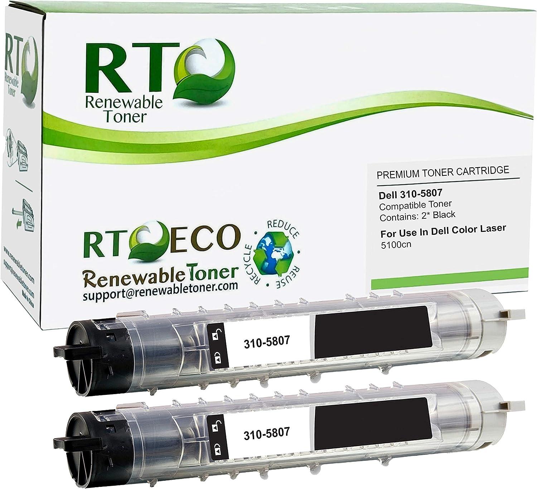 Renewable Toner Compatible Toner Cartridge Replacement for Dell 310-5807 H7028 Color Laser 5100 (Pack of 2 Black)