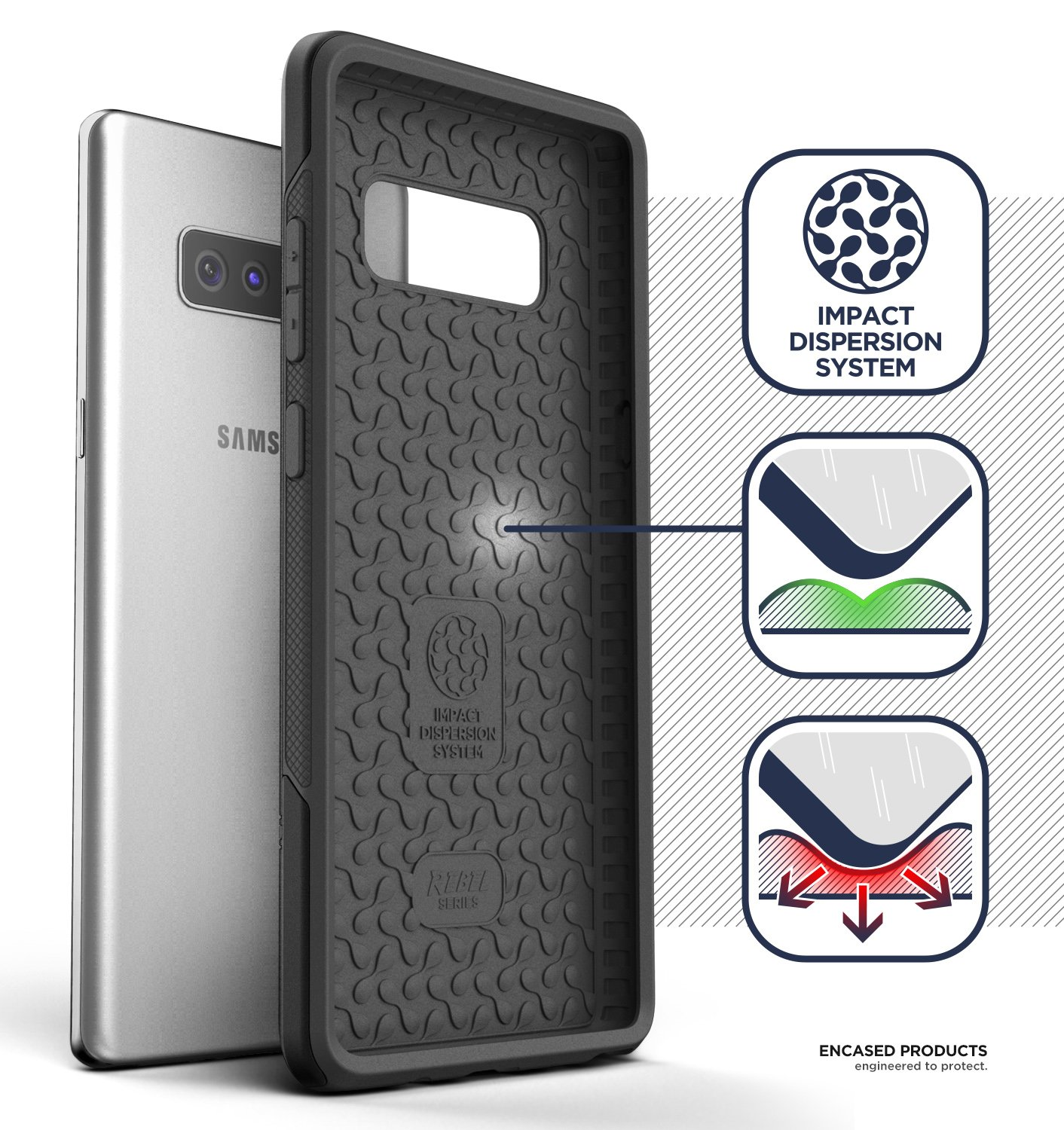 Military Grade Protection Impact Armor w//Holster Clip for Samsung Galaxy Note 8 Black Encased Rebel Series Galaxy Note 8 Rugged Belt Case