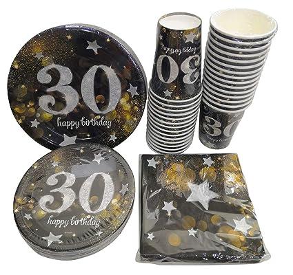 Amazon.com: Sirve 30 | Paquete de fiesta completo | Feliz 30 ...